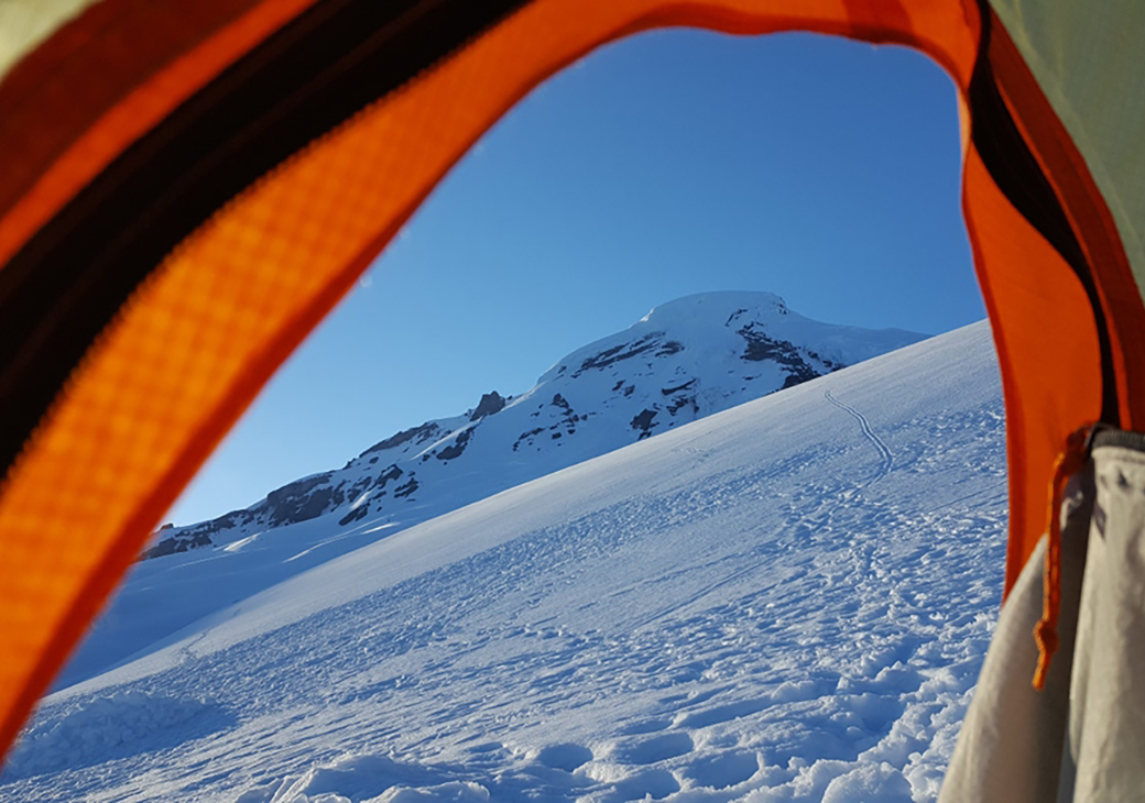 Ski Backpacking on Mount Baker, Washington.