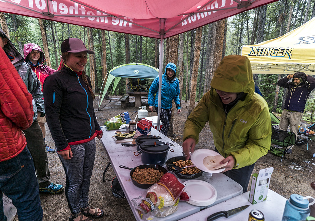 Hot breakfast burritos fuel the Big Agnes and Honey Stinger crew before their Mt. Elbert summit hike.